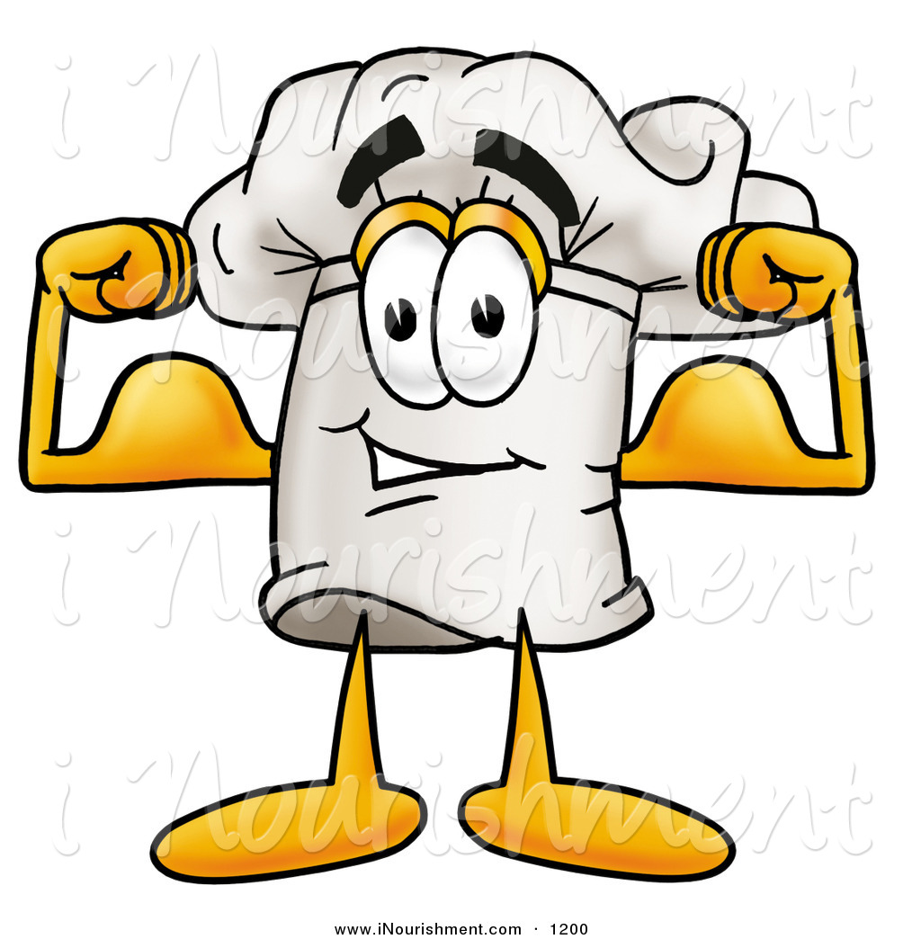 Clipart of a Smiling Chefs Hat Mascot Cartoon Character Flexing.
