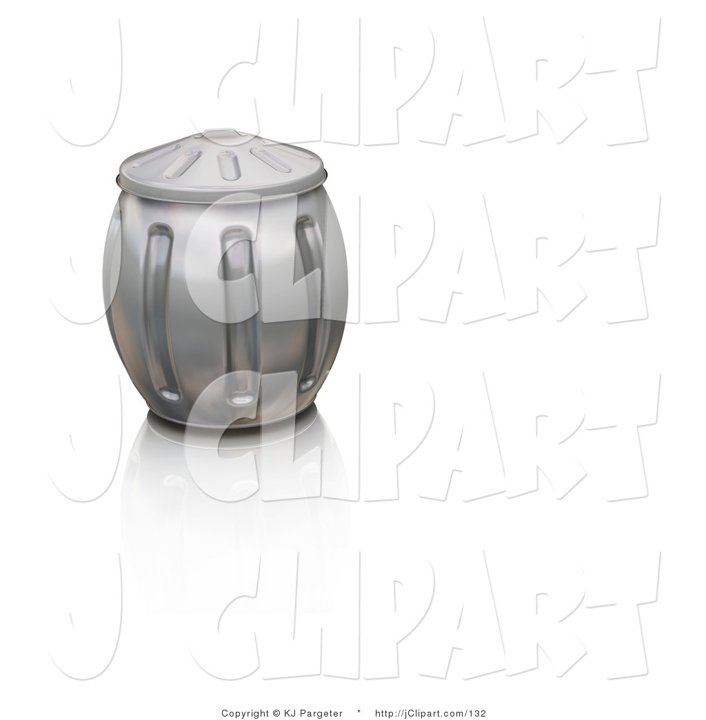 Clip Art of an Overstuffed Metal Garbage Can with the Lid On.