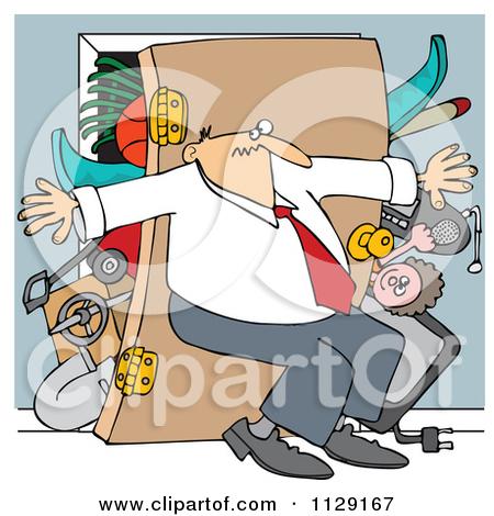 Cartoon Of A Man Pushing Back Against A Bulging Closet Door.