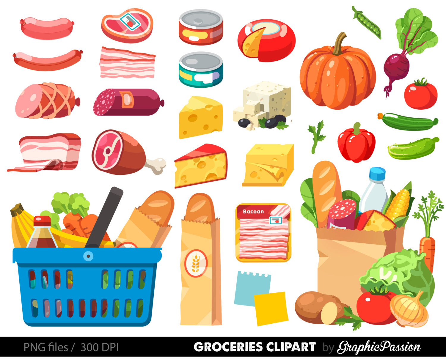 Grocries Clip Art Buying in Bulk.