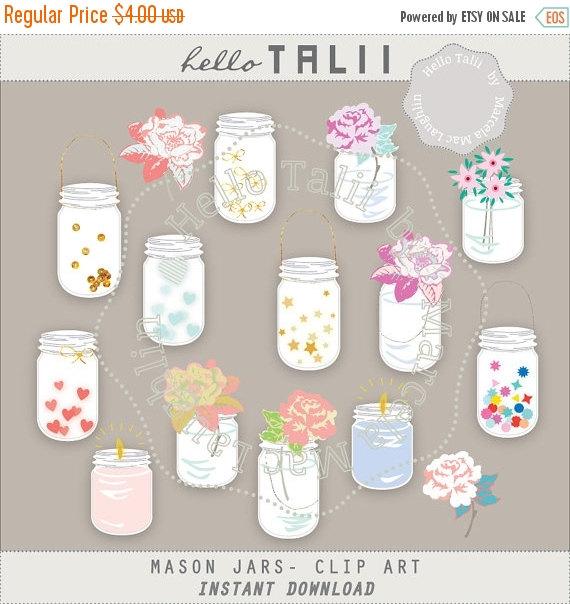 Mason Jars Clipart MASON JARS BULK Clip Art Mason by HelloTalii.