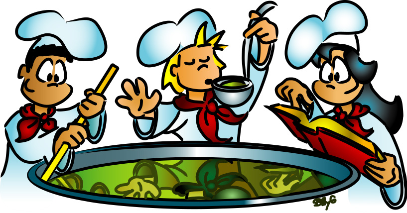 Clip Art Family Cooking Together Clipart.