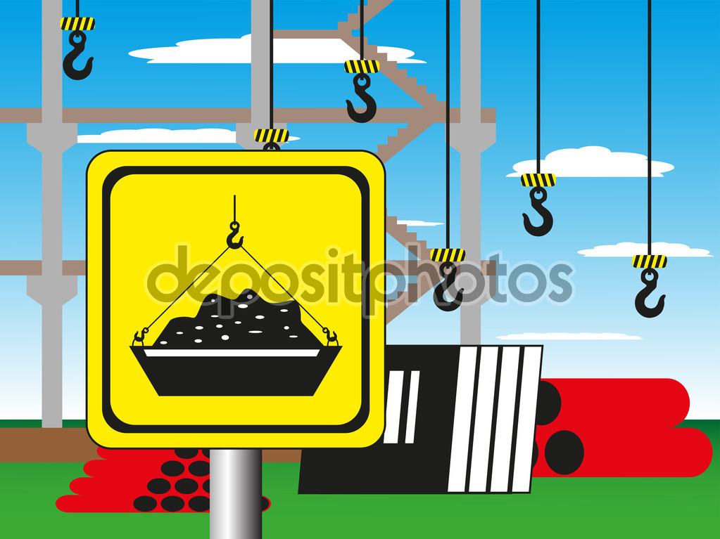 Construction site with a warning sign. Vector illustration.