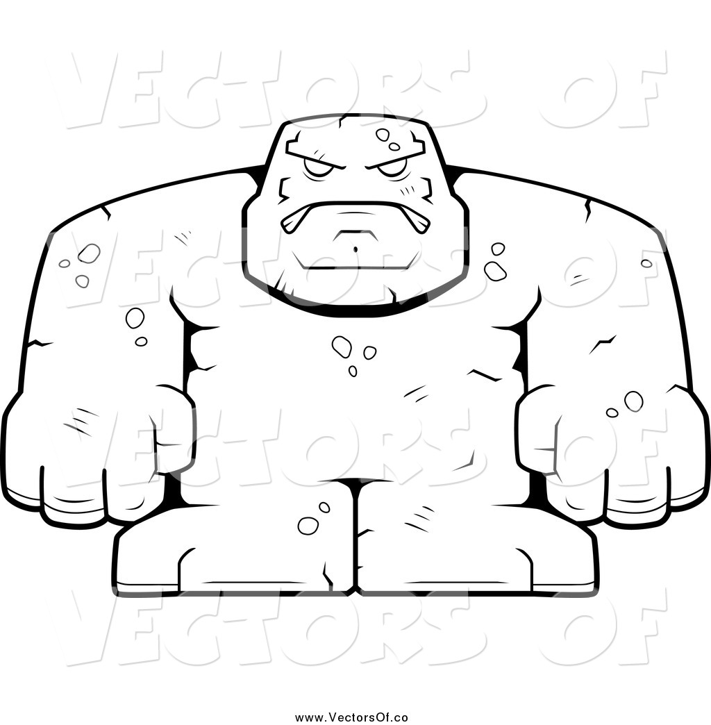 Vector of a Black and White Bulky Stone Golem Character by Cory.