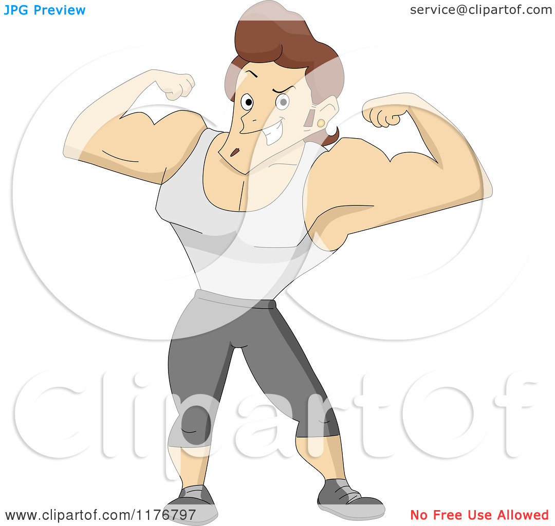 Cartoon of a Bulky Bodybuilder Flexing His Muscles.