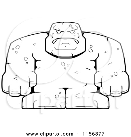 Cartoon Clipart Of A Black And White Bulky Stone Golem Man.