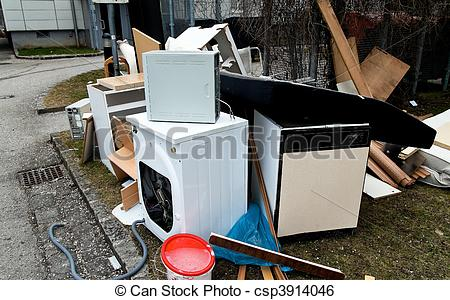Stock Image of Bulky waste waiting for garbage collection.