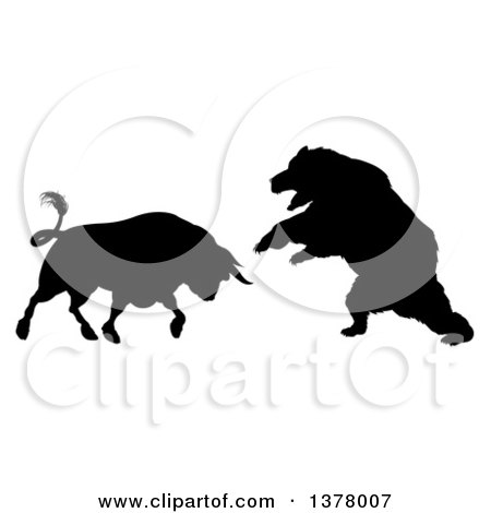 Clipart of a Black Silhouetted Stock Market Bull Fighting a Bear.