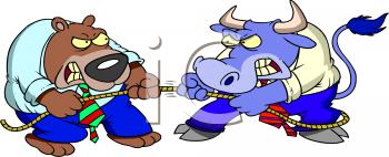 Royalty Free Clip Art Image: Bulls and Bears.