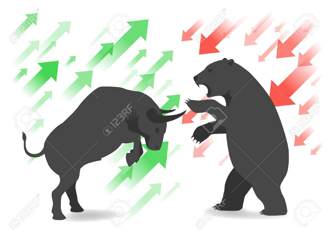 Stock market concept bull and bear.