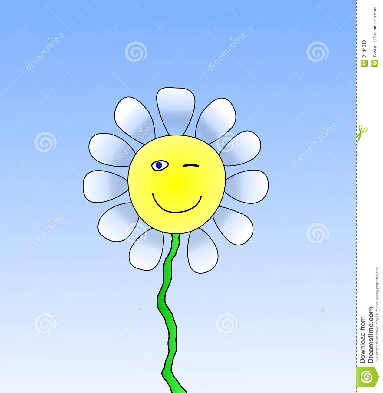 Happy Smiling Daisy Flower Stock Illustrations.