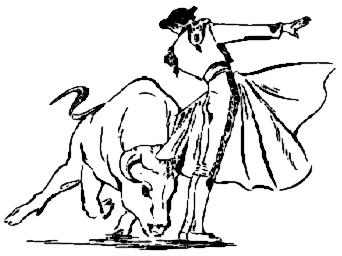 Matador and Bull Clip Art.
