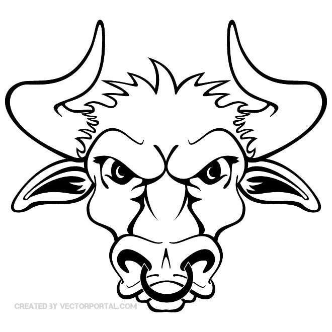Bull Head with Sharp Horns Free Vector.