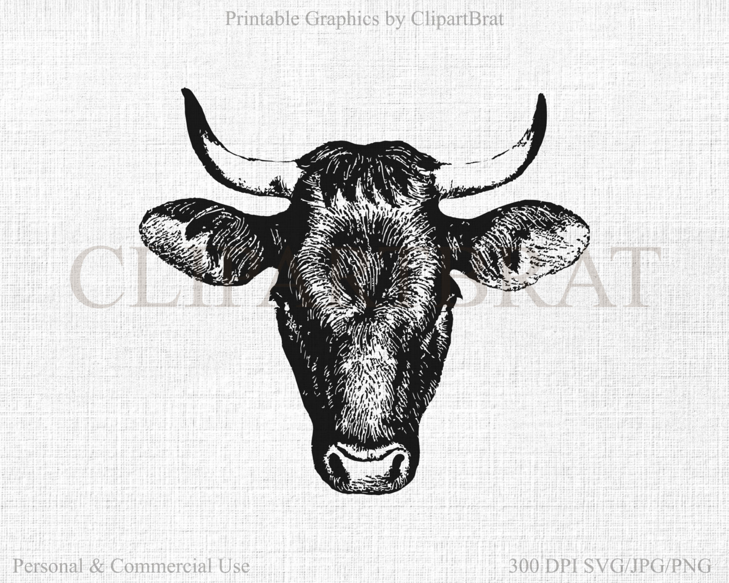 BULL HEAD Clipart Commercial Use Clipart Cow Head Graphic 2016.