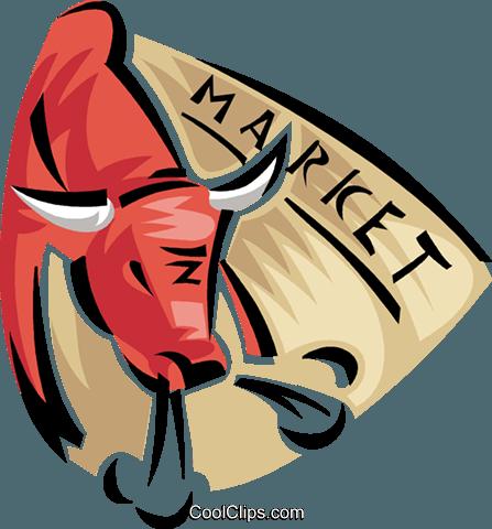 bull stock market Royalty Free Vector Clip Art illustration.