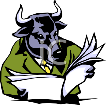 Royalty Free Clip Art Image: Bull Reading the Stock Market Newspaper.