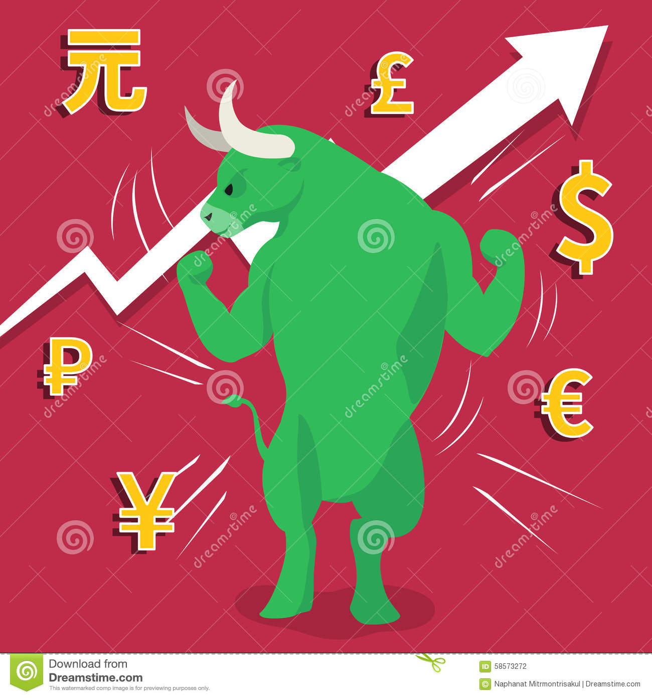 Green Bull Market Presents Uptrend Stock Market Concept Stock.