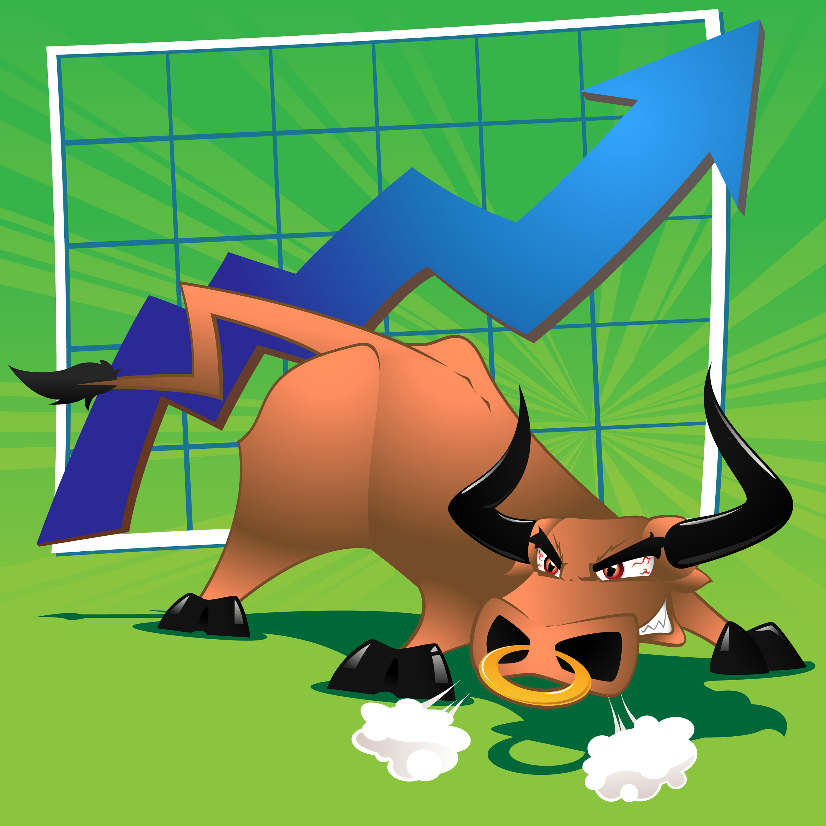 Raging Bull Market — Vector illustration of a bull in front of a.