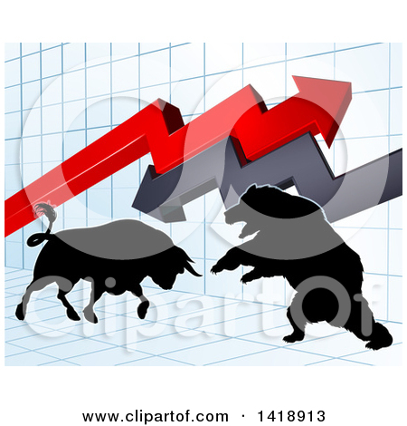 Clipart of a Black Silhouetted Stock Market Bull and Bear Fighting.