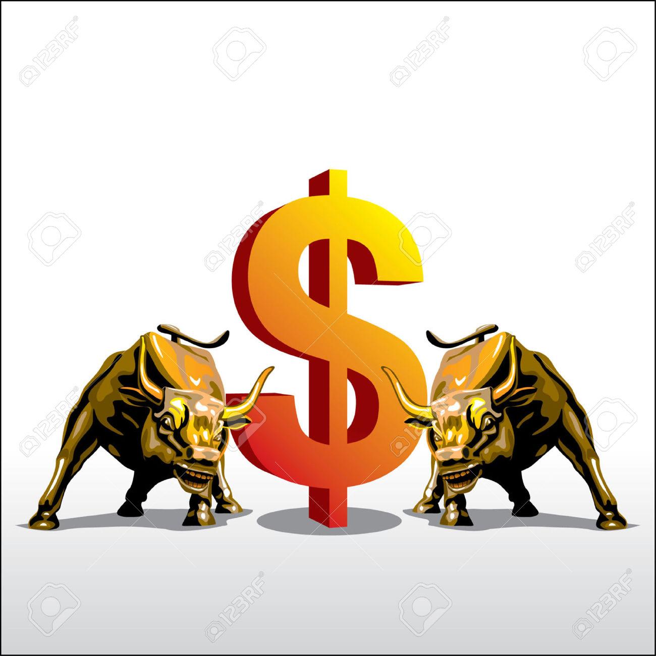 Bull Fight For Money Royalty Free Cliparts, Vectors, And Stock.