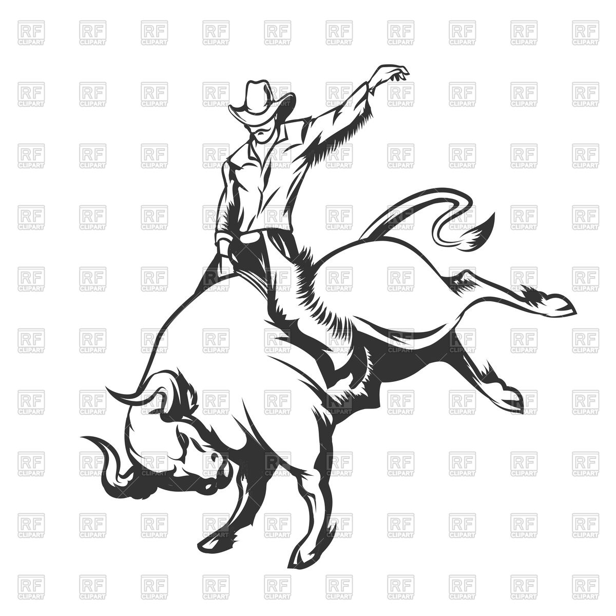 Rodeo cowboy riding wild bull Stock Vector Image.