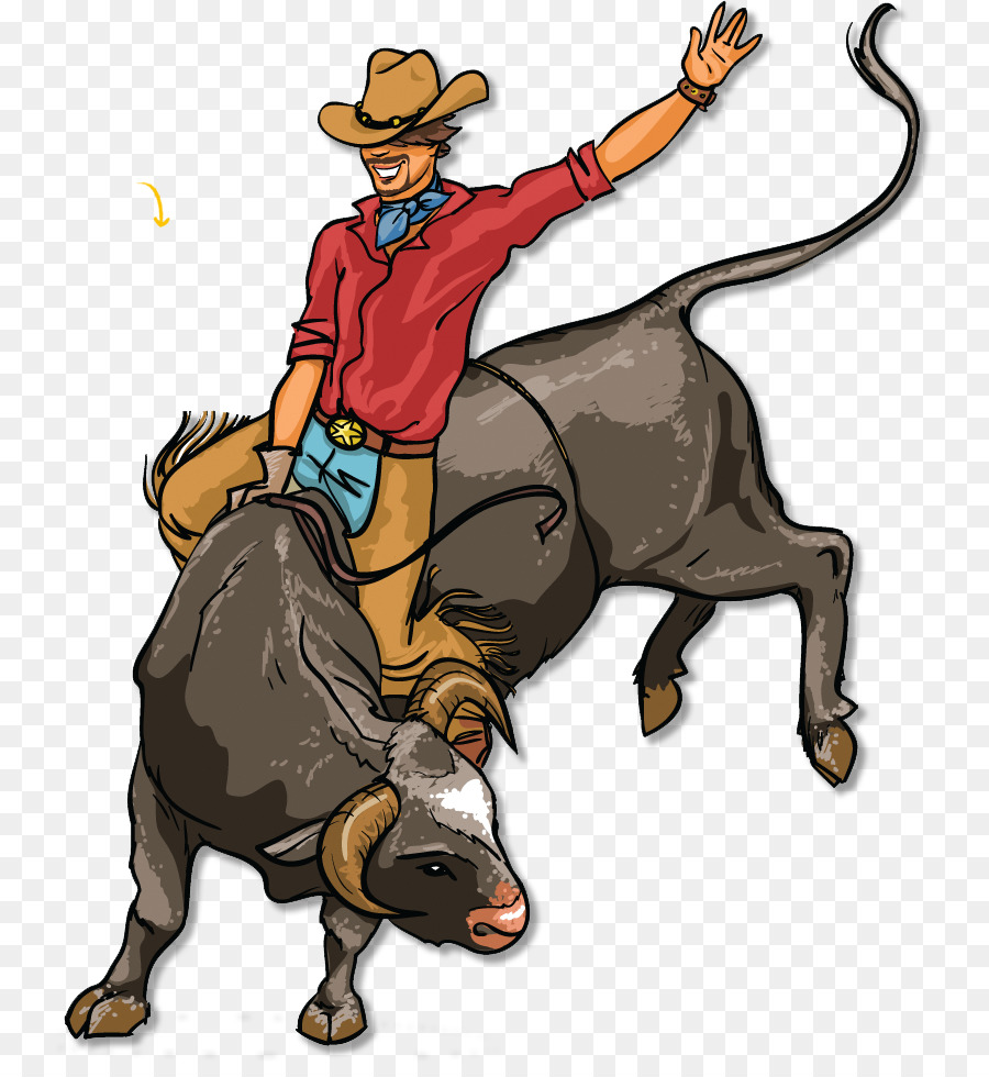 Bull Riding Cowboy png download.