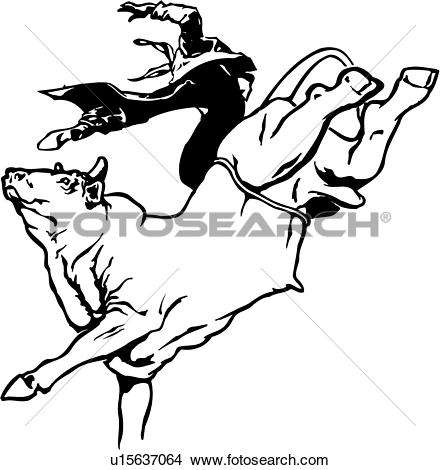 Clipart of Bull Rider u12862854.