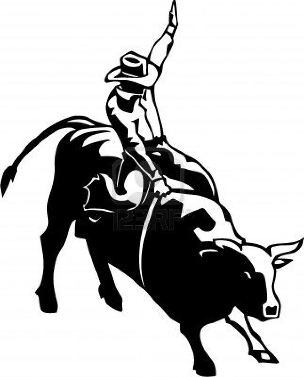 Bull ride clipart.