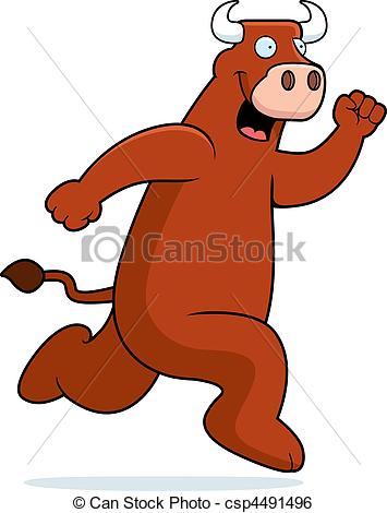Clip Art Vector of Bull Running.