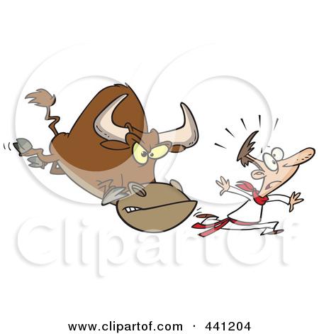 Bull running clipart.