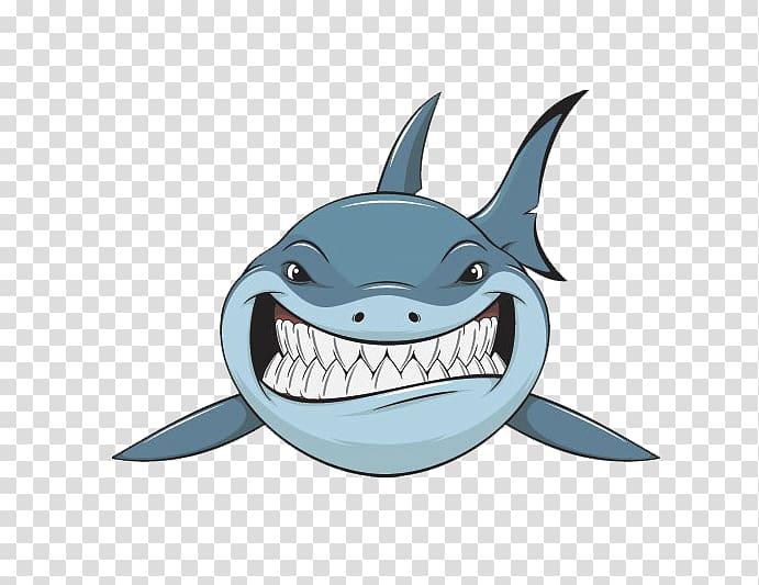 Blue shark , Bull shark , Cute shark transparent background.