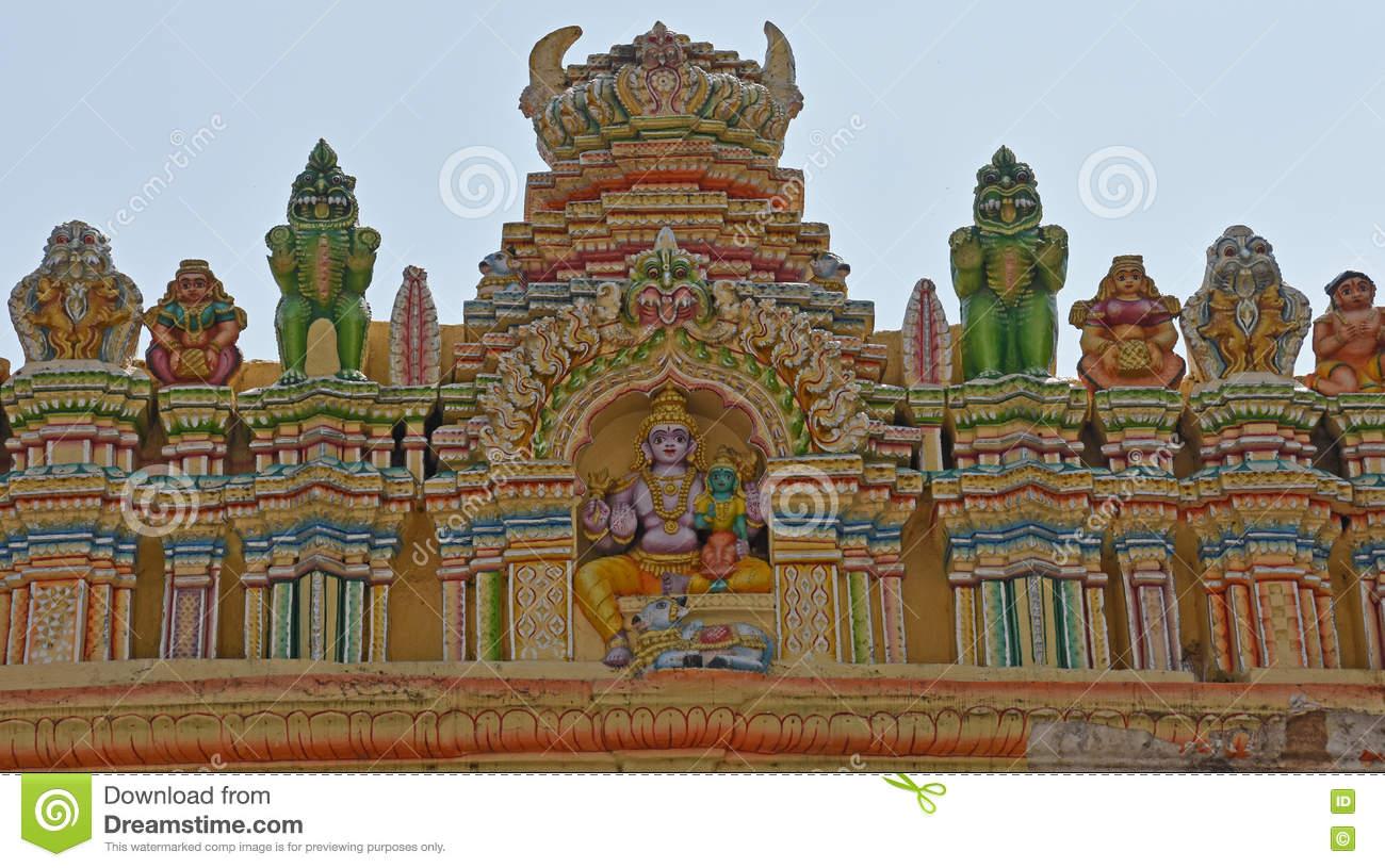 Details Of Saraswati On The Bull Temple In Bangalore Stock Photo.