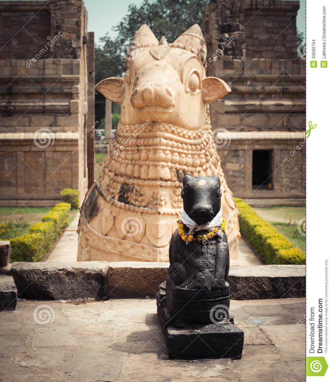 Statue Of Nandi Bull At Hindu Temple. India Stock Images.
