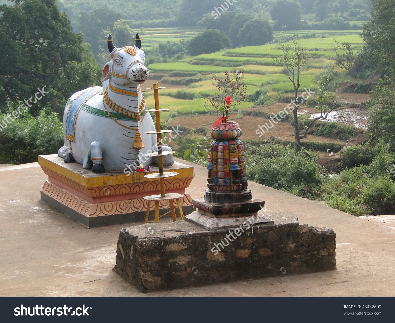 Statue Nandi Bull Outside Shiva Temple Stock Photo 43432609.