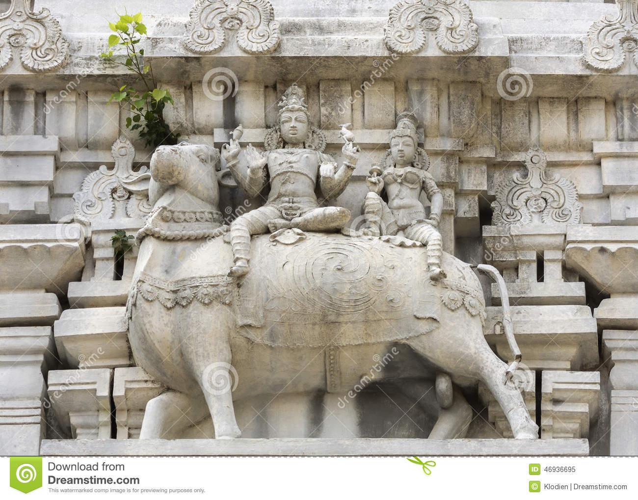 Statue Of Nandi The Bull At Thiruvannamalai Temple. Stock Photo.