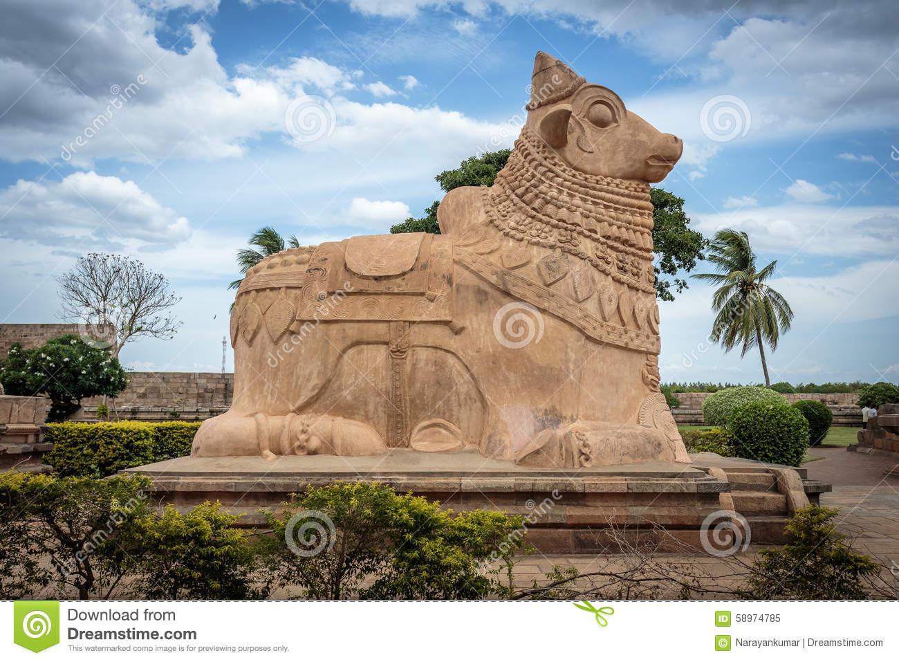 Nandi The Bull Statue In Ancient Hindu Temple Stock Photo.