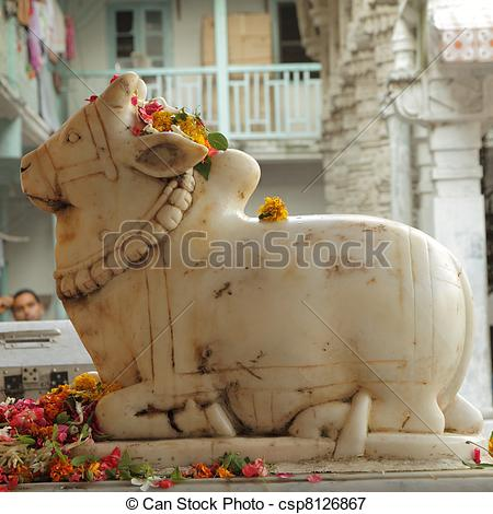 Picture of Sculpture of Nandi ( bull ) in front of hindu temple.