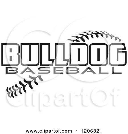 Clipart of a Black And White Baseball and BULLDOG Team Text.