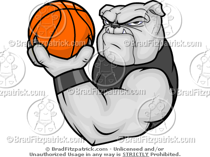 Bulldog Basketball Mascot Clip Art.