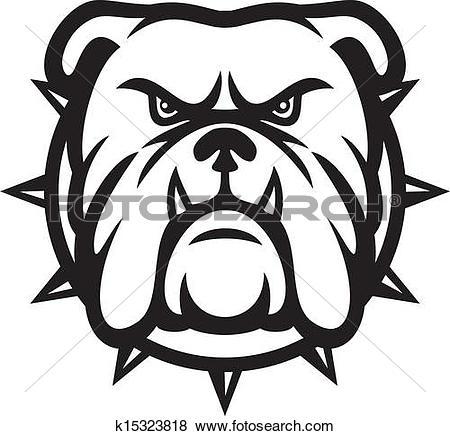 Clipart of Bulldog Mascot Cartoon Face k7042271.