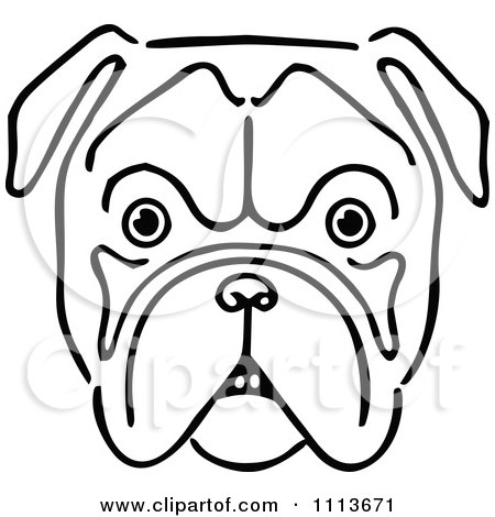 Clipart Vintage Black And White Bulldog Face.