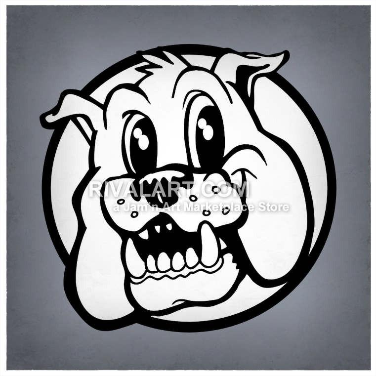 Black White Bulldogs Head.