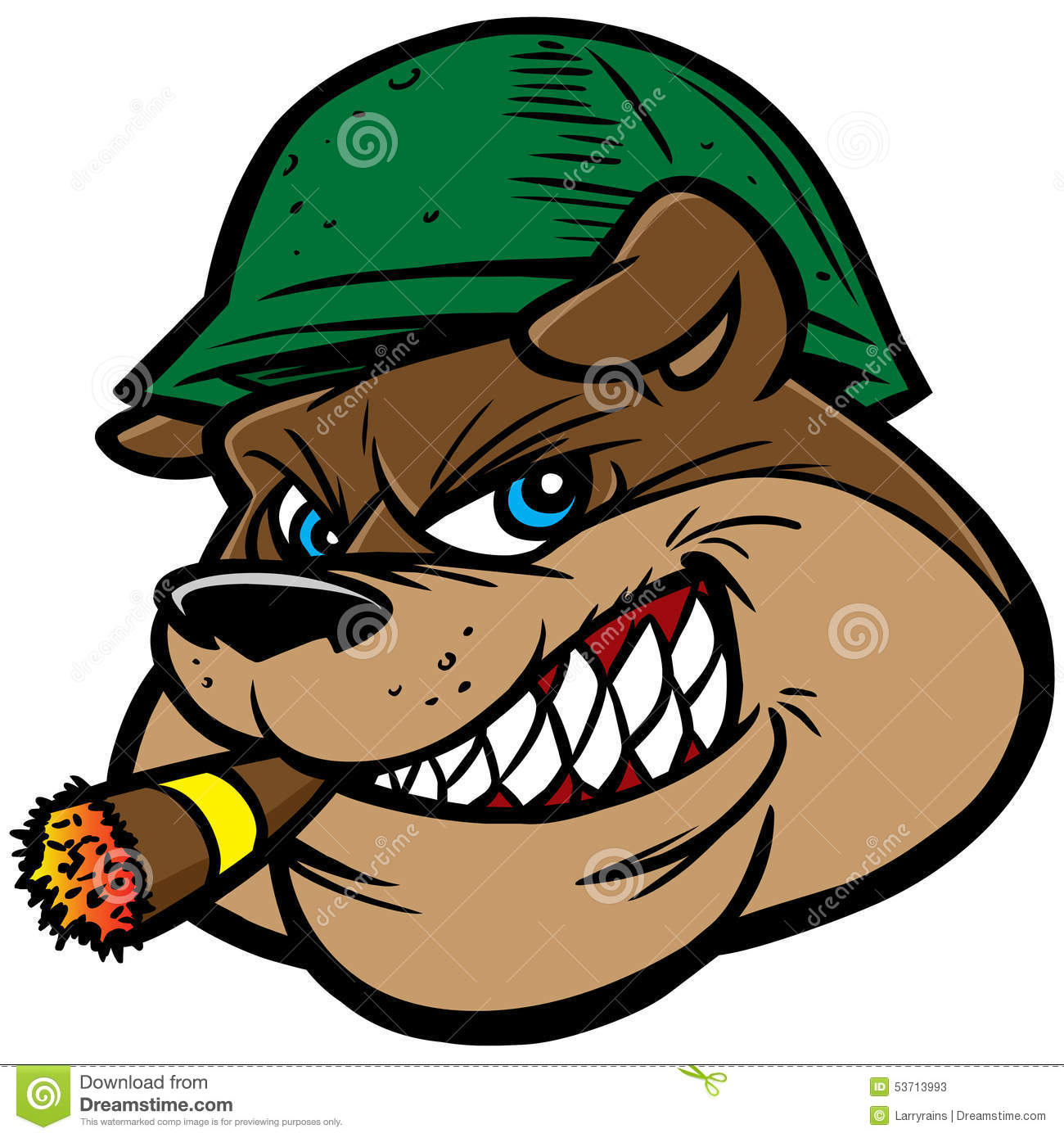 Bull Dog With Cigar Clipart.