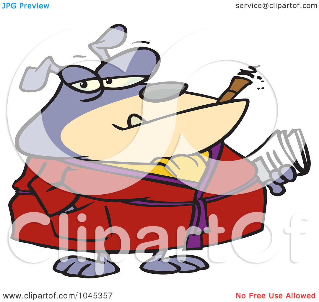 Bulldog Smoking Cigar Clipart.