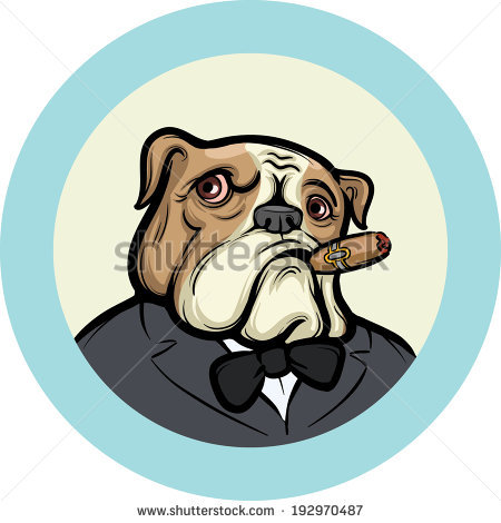 Vector Illustration Cartoon Old English Bulldog Stock Vector.