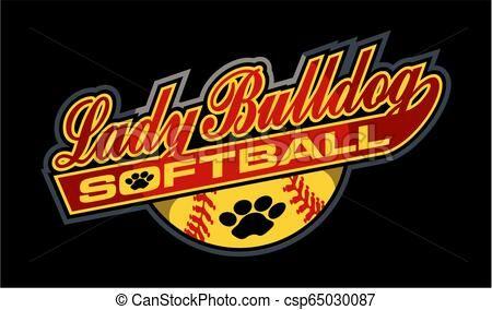 lady bulldog softball Vector.