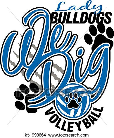 Lady bulldogs volleyball Clipart.