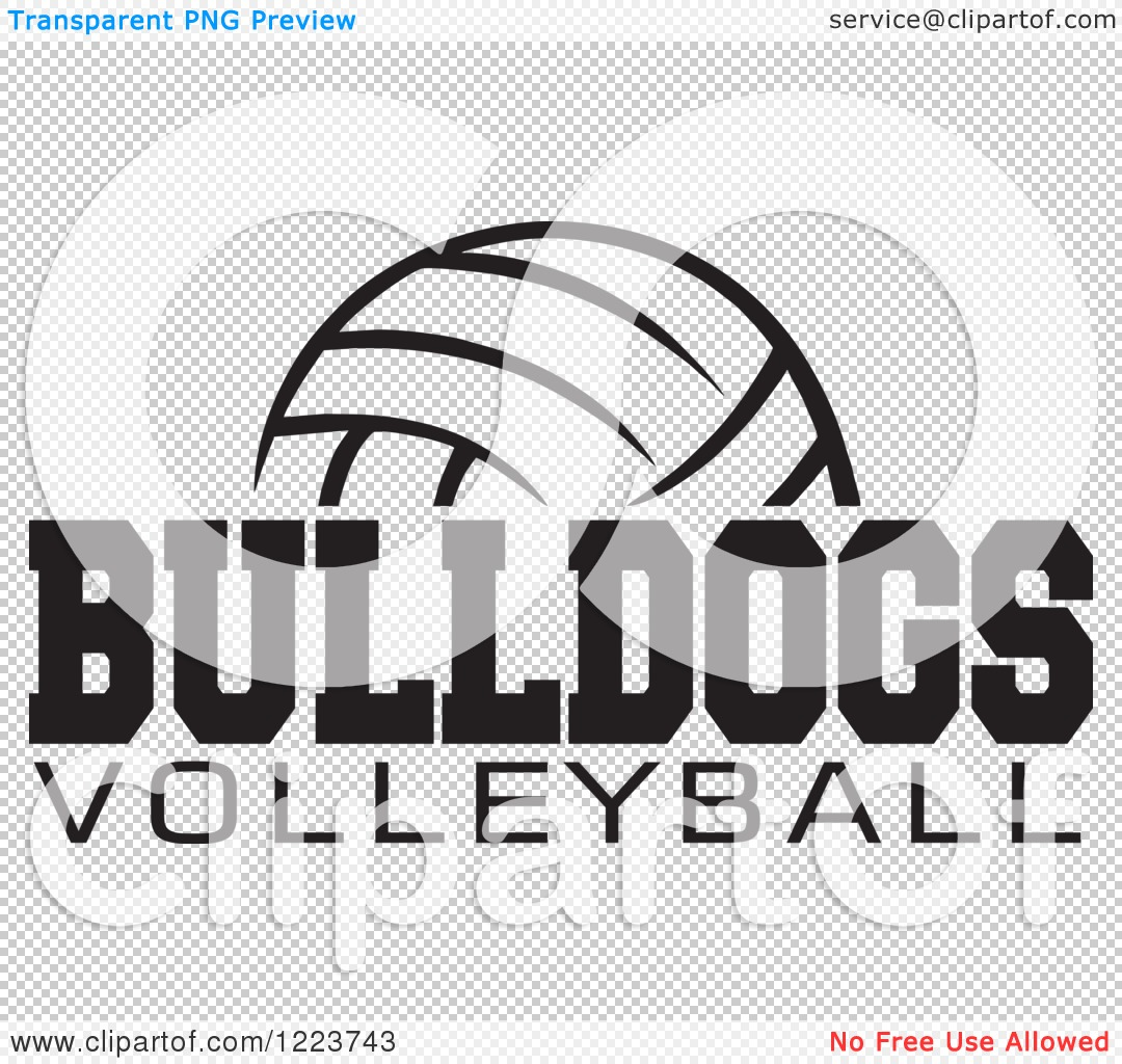 Clipart of a Black and White Ball with BULLDOGS VOLLEYBALL Text.
