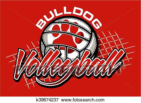 Bulldog volleyball Clip Art.