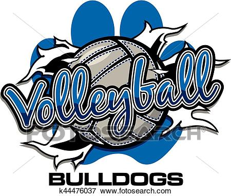Bulldogs volleyball Clip Art.